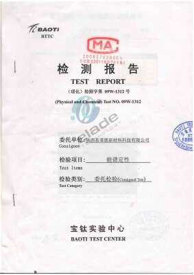 Test report of titanium anode coating composition